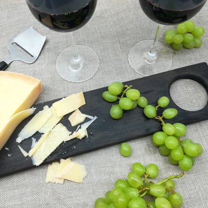 """Cheese & vine"" serving board charred"